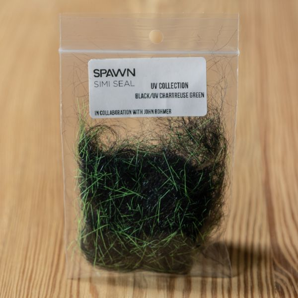Spawn's UV Simi Seal Dubbing - Black / UV Chartreuse Green - Spawn Fly Fish - 3
