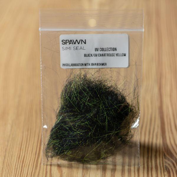 Spawn's UV Simi Seal Dubbing - Black / UV Chartreuse Yellow - Spawn Fly Fish - 3