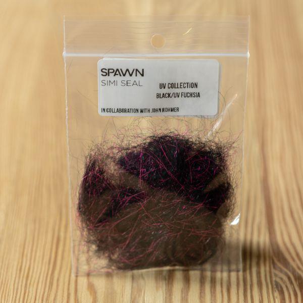 Spawn's UV Simi Seal Dubbing - Black / UV Fuchsia - Spawn Fly Fish - 3