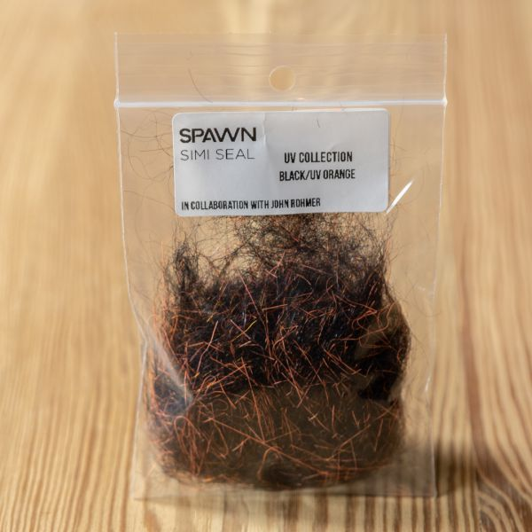 Spawn's UV Simi Seal Dubbing - Black / UV Orange - Spawn Fly Fish - 3