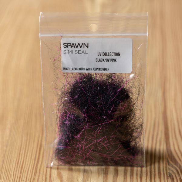 Spawn's UV Simi Seal Dubbing - Black / UV Pink - Spawn Fly Fish - 3